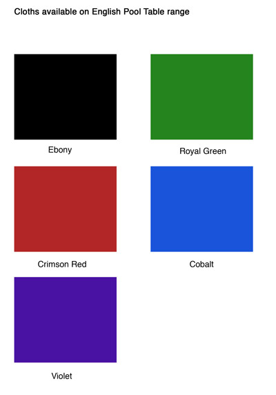 Pool table cloth colour range