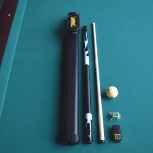 pool cue kit, bag, cue, training ball and chalk holder